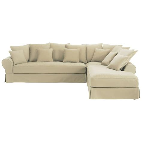 6 Seater Corner Sofa by 6 Seater Putty Coloured Cotton Right Corner Sofa