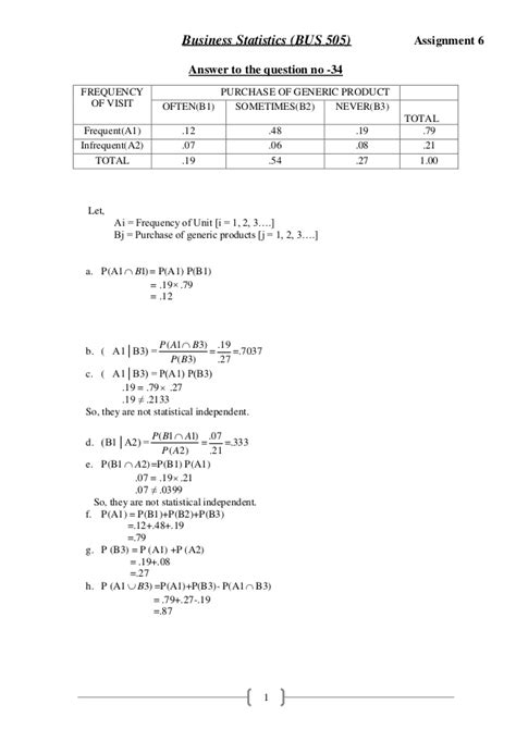 Mba 6018 Business Statistics In Practice Unit 4 by Statistics Assignment 6