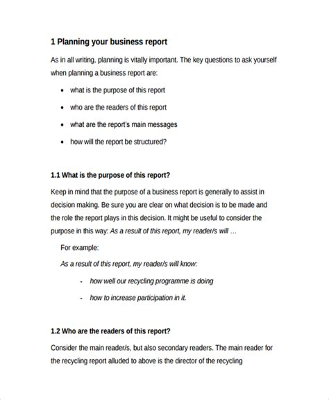 business plan report template sle professional report template 8 free documents