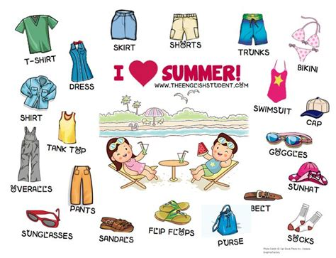 english vocab themes esl esl teaching ideas summer clothing esl vocabulary