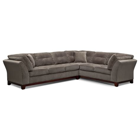 value city sectional sebring 2 piece sectional with left facing sofa gray