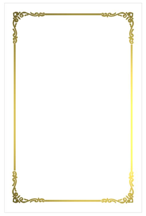 Cadre Card Templates by White Border Png A8 Regal Border Flat Card White Gold