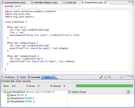using unit testing frameworks scala ide 0 1 snapshot