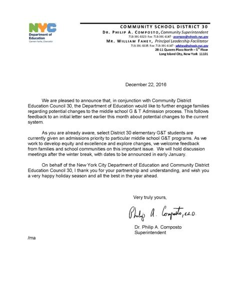 Appeal Letter For Gifted And Talented Program gifted and talented program at astoria schools will not be
