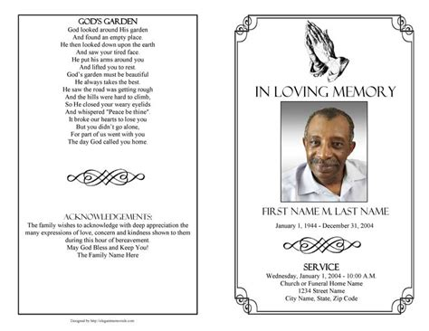 free funeral program template free funeral program templates free s