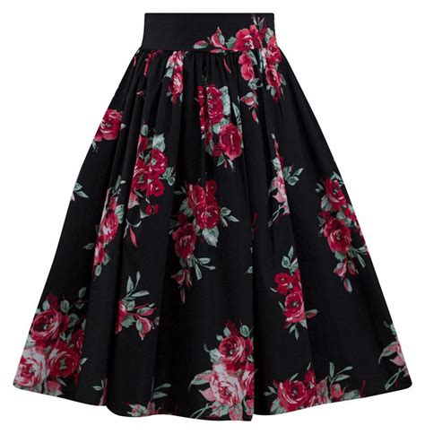 rose swing rose blossom floral swing skirt in black double trouble