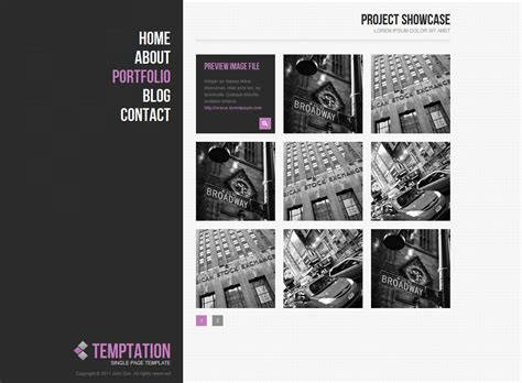 clockworklives portfolio page layouts temptation a single page template by hedgehogcreative