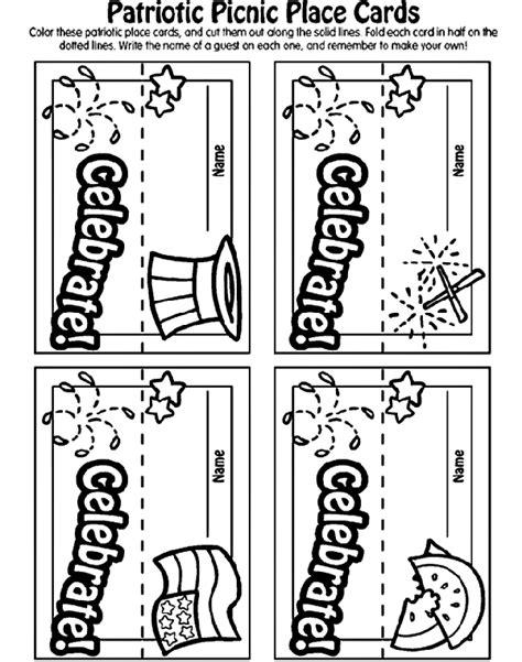 crayola coloring pages 4th of july patriotic picnic place cards crayola com au