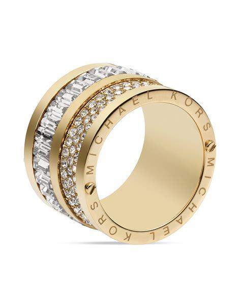 Michael Kors Ring by Michael Kors Gold Tone Pave And Barrel Ring Vita