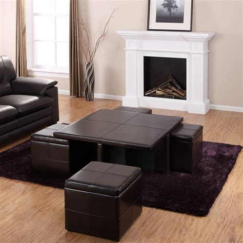 Square Black Leather Coffee Table With Ottomans And Purple