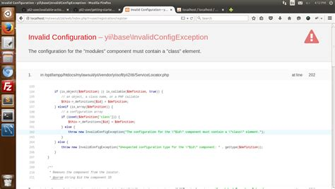 change layout module yii php invalid cofiguration yii base