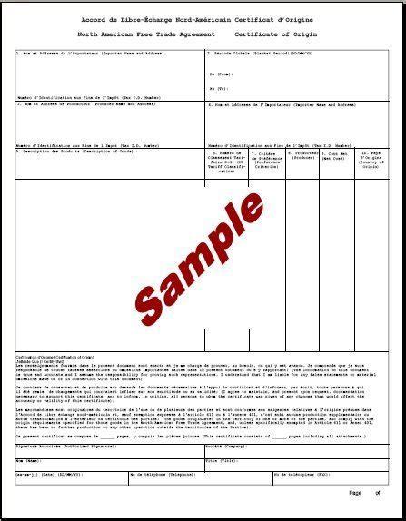 nafta certificate template 5 certificate of origin templates excel pdf formats
