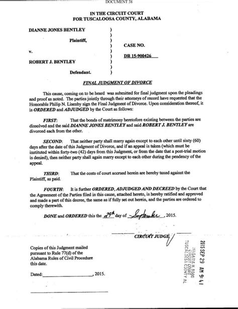 Request For Divorce Decree Letter Bentley Divorce Decree Decaturdaily