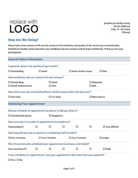 design options for home visiting evaluation medical practice survey form printable medical forms