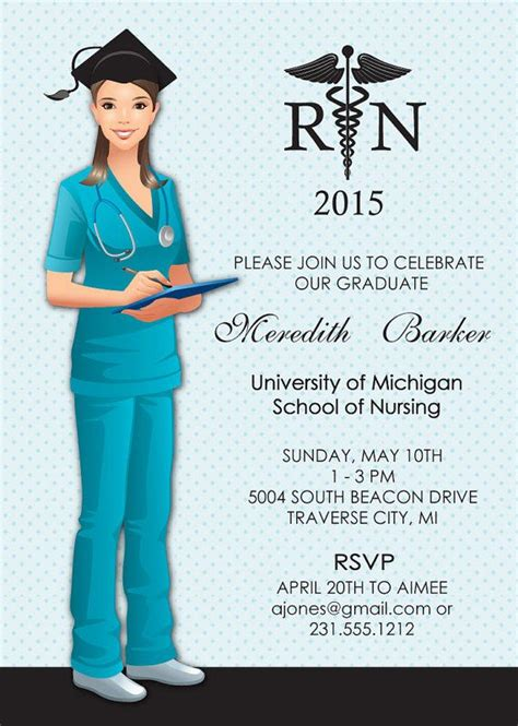 Nursing Graduation Card Template by Graduation Invitation Nursing School Grad