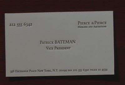 bateman business card template american psycho business cards in