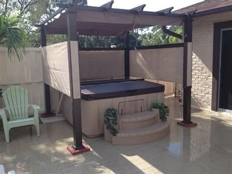 hton bay steel pergola hton bay 9 1 2 ft x 9 1 2 ft steel pergola with canopy gfm00467f the home depot things