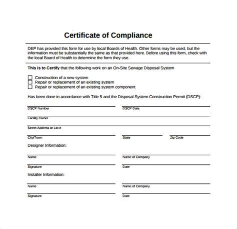 sle certificate of compliance template 15 free