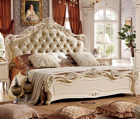 White Carved Bedroom Furniture by Carved Pearl White Bed With Fabric Backrest A808 In