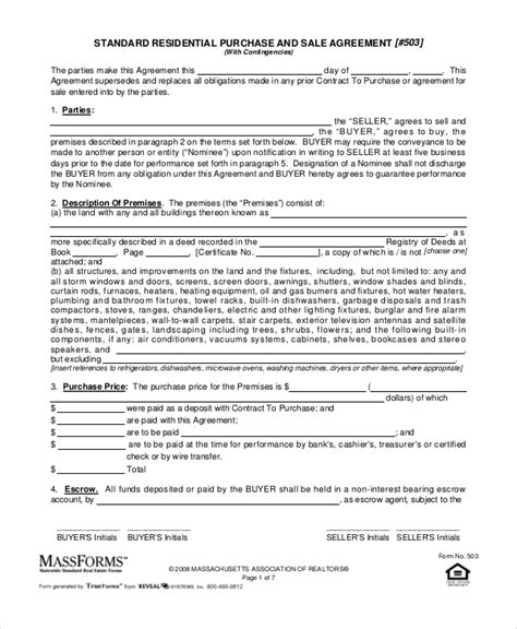 Purchase And Sale Agreement 10 Free Pdf Documents Download Free Premium Templates Standard Purchase Agreement Template