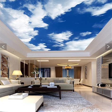 cloud lounge and living room 3d wallpaper mural decor photo backdrop blue sky white clouds ceiling living room restaurant