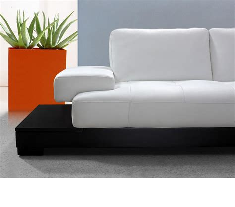 White Sectional Leather Sofa Modern Dreamfurniture Modern White Leather Sectional Sofa
