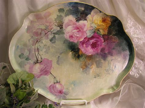 antique porcelain l with roses gorgeous limoges france roses hand painted quot one of a kind