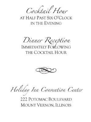 Cocktail Hour Wedding Invitation Wording
