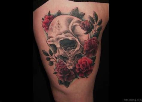 skull and flower tattoos 97 best skull tattoos on thigh