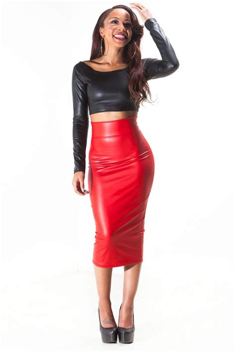 faux leather pencil skirt crop top style