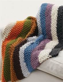 runde decke stricken simple striped seed stitch afghan allfreeknitting