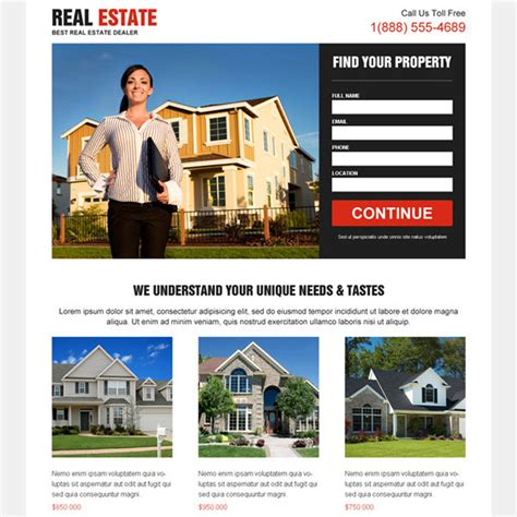 Clean Effective Minimal And Converting Real Estate Lead Capturing Landing Page Real Estate Landing Page Template Free