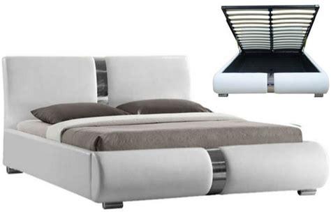 ensemble lit coffre sommier relevable blanc et matelas