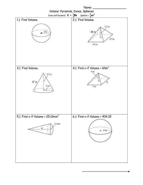 Volume Of Spheres Worksheet by 16 Best Images Of Cone Cylinder And Sphere Worksheet