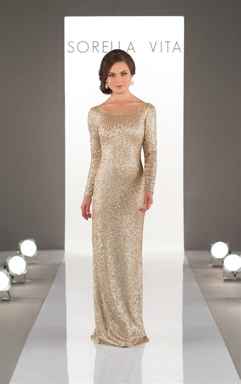 long sleeved sequin bridesmaid gown sorella vita