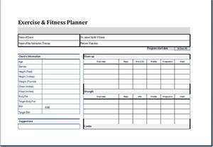 Exercise Template by Exercise And Fitness Planner Template Word Document