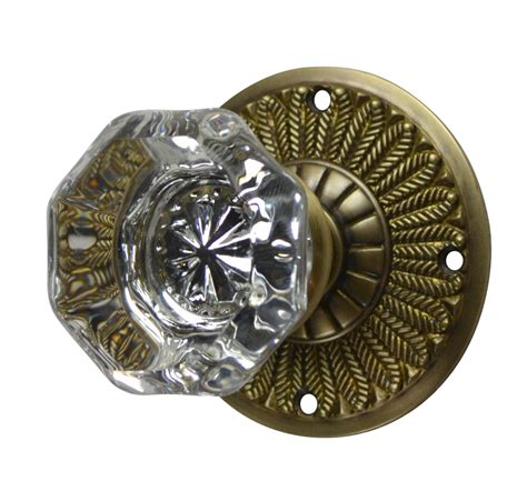 Antiques Door Knobs antique door knobs feathers plate style antique brass finish