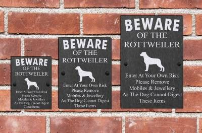 rottweiler signs humorous beware of the rottweiler slate sign plaque 3 sizes available