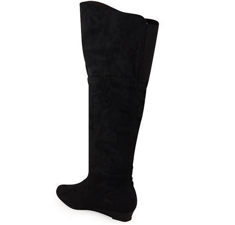 black knee high boots low heel new womens black faux suede knee high low heel