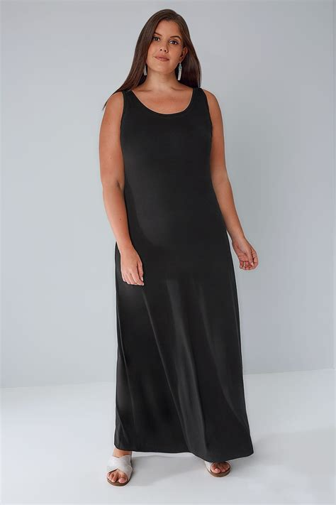 Dress Jersey Dress Jersey3 black plain sleeveless jersey maxi dress plus size 16 to 36