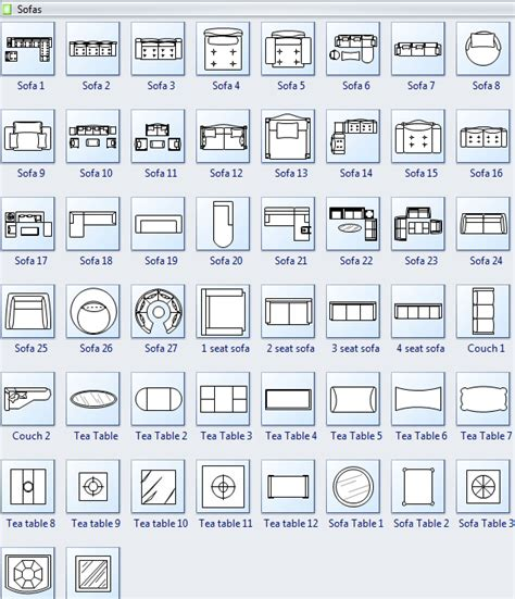 floor plan symbols chart symbols for floor plan sofa