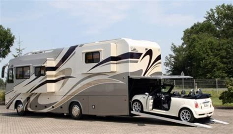 rv with car garage new vario motorhome features built in a garage for your