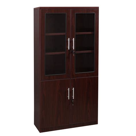 Mahogany Bookcase With Doors Everyday 65 In Laminate Bookcase With Glass Doors