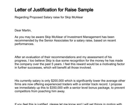 Raise Justification Letter 7 free salary increase templates excel pdf formats