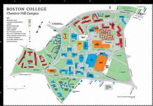 Umass Boston Campus Map by Boston College Chestnut Hill Campus Map Massachusetts