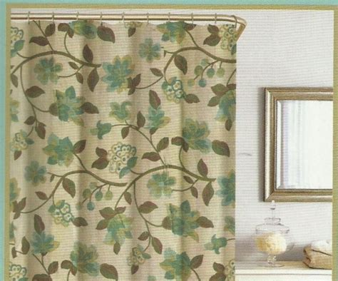 brown green shower curtain floral green brown turquoise beige silk look texture