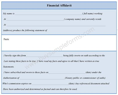 financial affidavit financial affidavit form