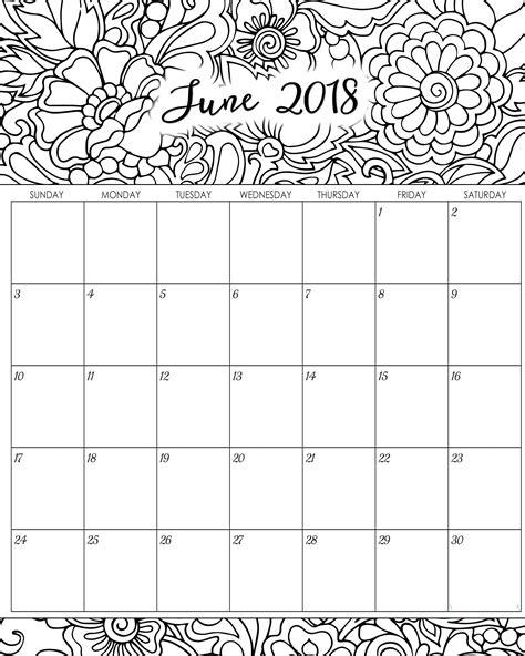 june 2018 calendar printable free template
