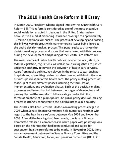 An Essay On Health Care Reform the 2010 health care reform bill essay
