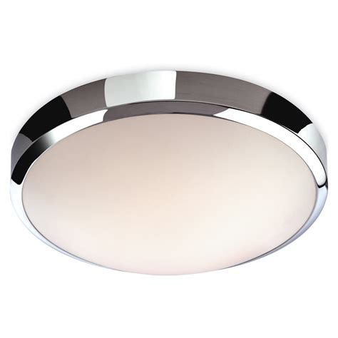 contemporary flush led bathroom ceiling light with chrome edge